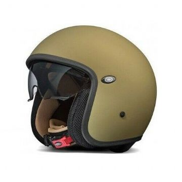 Premier Vintage Carbon Composite Motorcycle Bike Open Face Helmet Matt Green